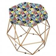 Puff Aramado Bruna Estampado Mosaico Color - ADJ Decor