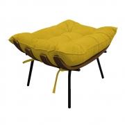 Puff Decorativo Costela Base Fixa Suede Amarelo - ADJ Decor