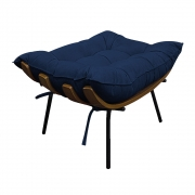 Puff Decorativo Costela Base Fixa Suede Azul Marinho - ADJ Decor