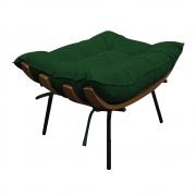 Puff Decorativo Costela Base Fixa Suede Verde - ADJ Decor