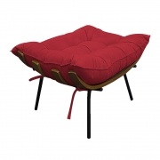 Puff Decorativo Costela Base Fixa Suede Vermelho - ADJ Decor