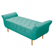 Recamier Estofado Ari 195 cm King Size Suede Azul Tiffany - ADJ Decor
