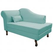 Recamier Rafaela 140cm Lado Direito Suede Azul Tiffany- ADJ Decor