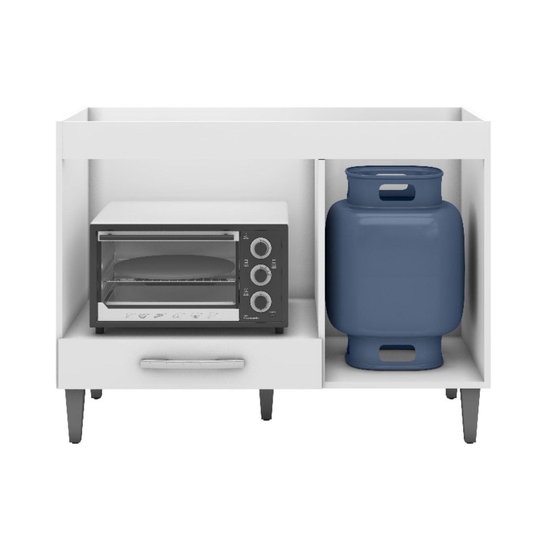 Balcão de Cozinha Carla com Tampo MDP Onix para Cooktop com Porta e Gaveta Branco - ADJ DECOR