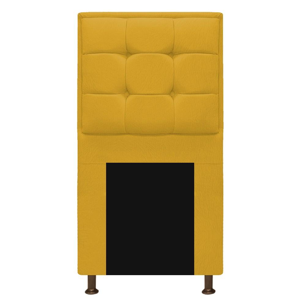 Cabeceira Copenhague 100 cm Solteiro Suede Amarelo - ADJ Decor
