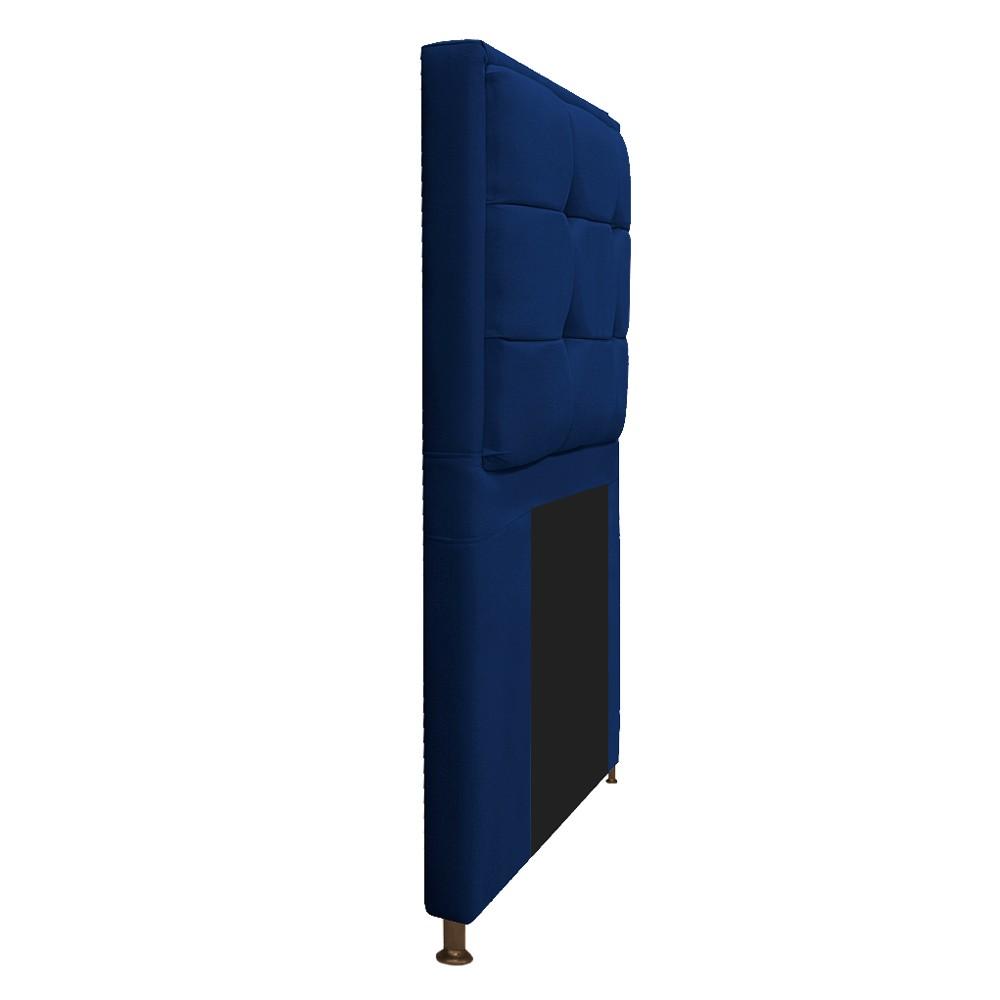 Cabeceira Copenhague 100 cm Solteiro Suede Azul Marinho - ADJ Decor