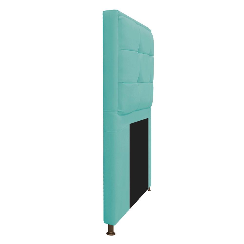 Cabeceira Copenhague 100 cm Solteiro Suede Azul Tiffany - ADJ Decor