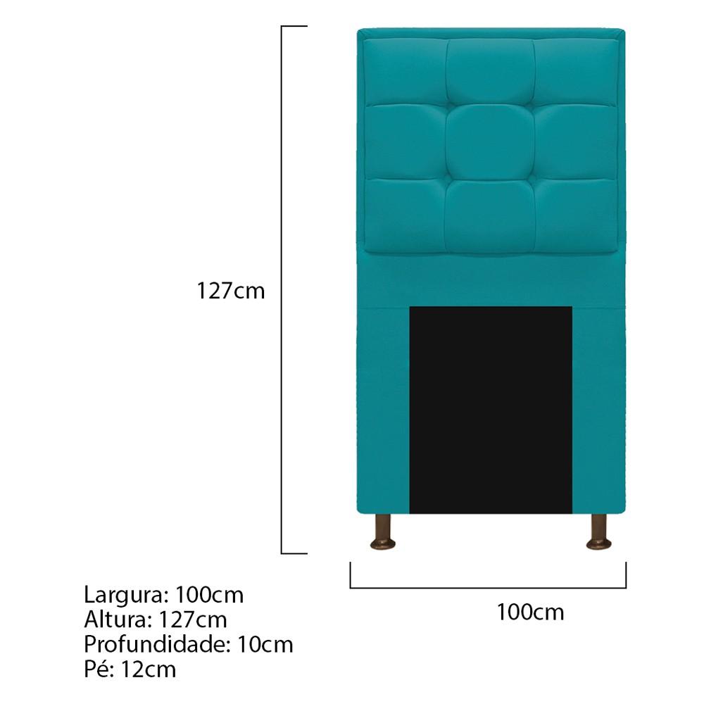 Cabeceira Copenhague 100 cm Solteiro Suede Azul Turquesa - ADJ Decor