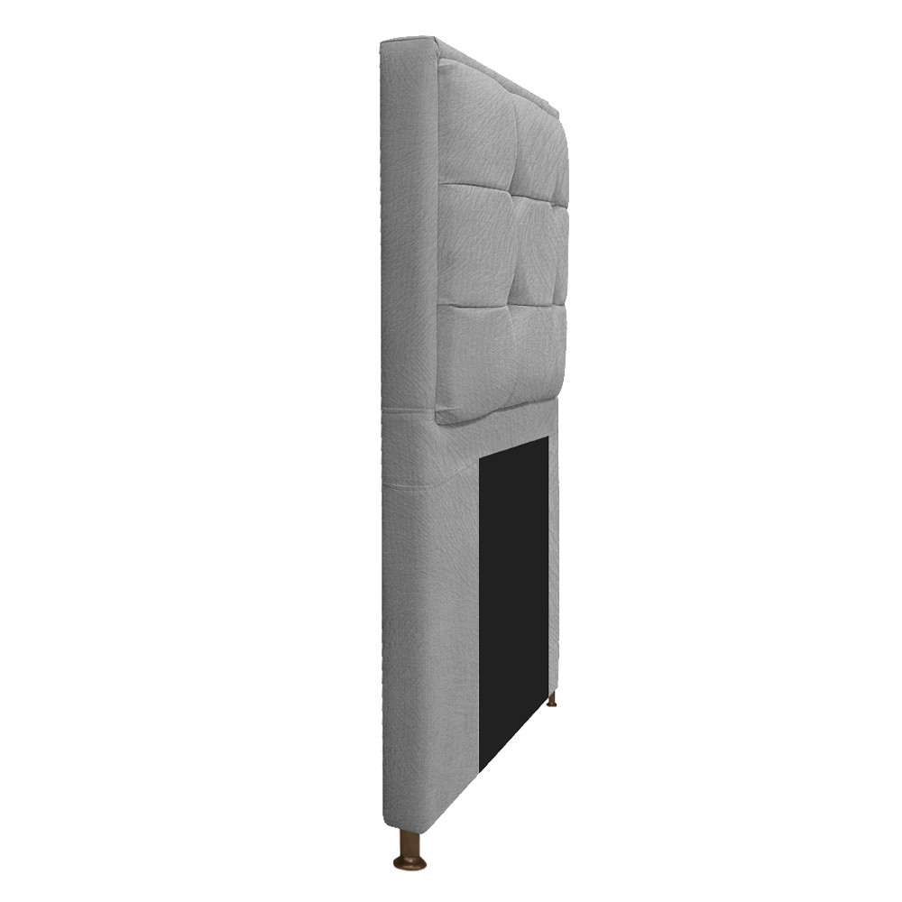 Cabeceira Copenhague 100 cm Solteiro Suede Cinza - ADJ Decor