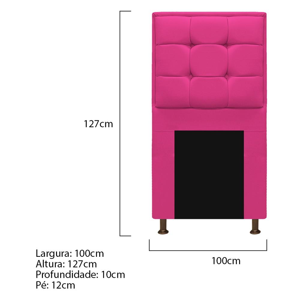 Cabeceira Copenhague 100 cm Solteiro Suede Pink - ADJ Decor