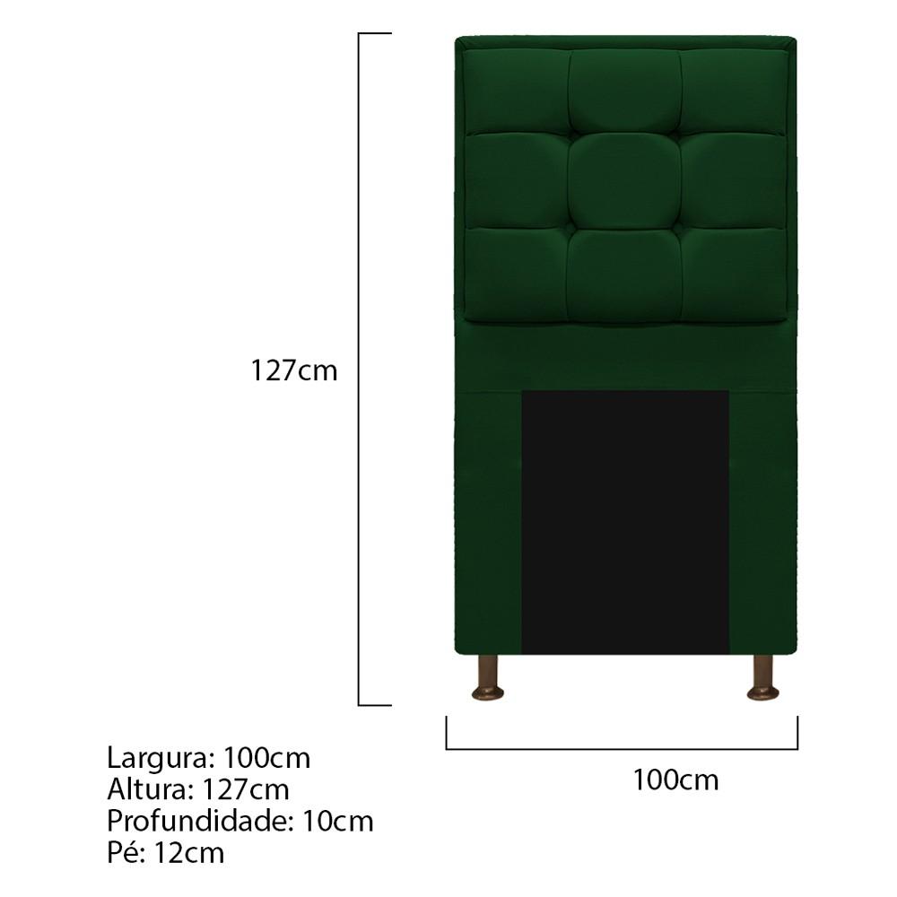 Cabeceira Copenhague 100 cm Solteiro Suede Verde - ADJ Decor