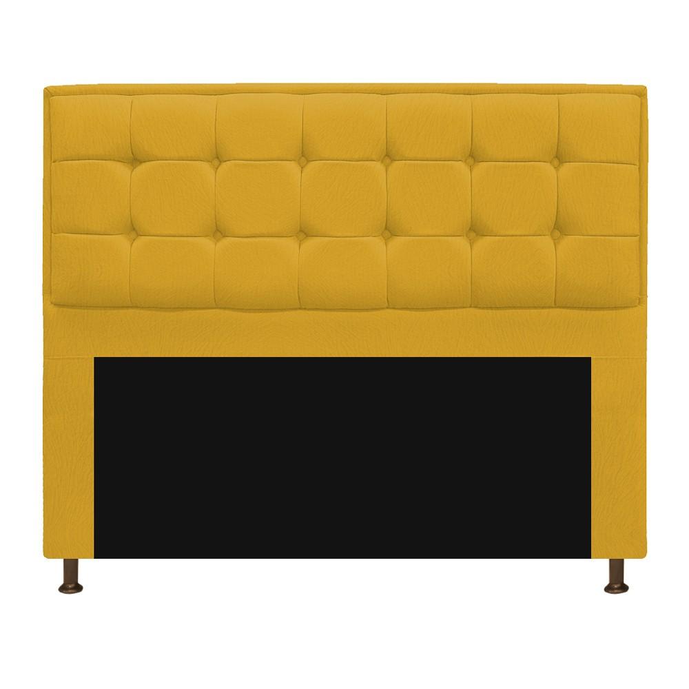 Cabeceira Copenhague 140 cm Casal Suede Amarelo - ADJ Decor