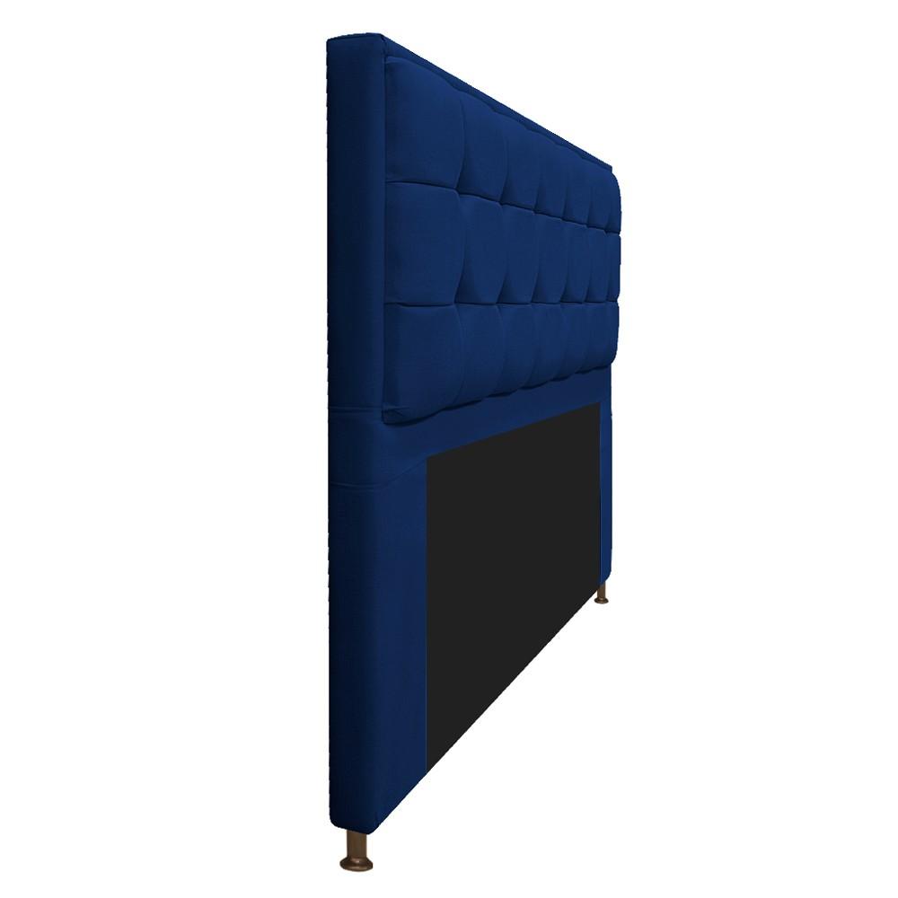 Cabeceira Copenhague 140 cm Casal Suede Azul Marinho - ADJ Decor