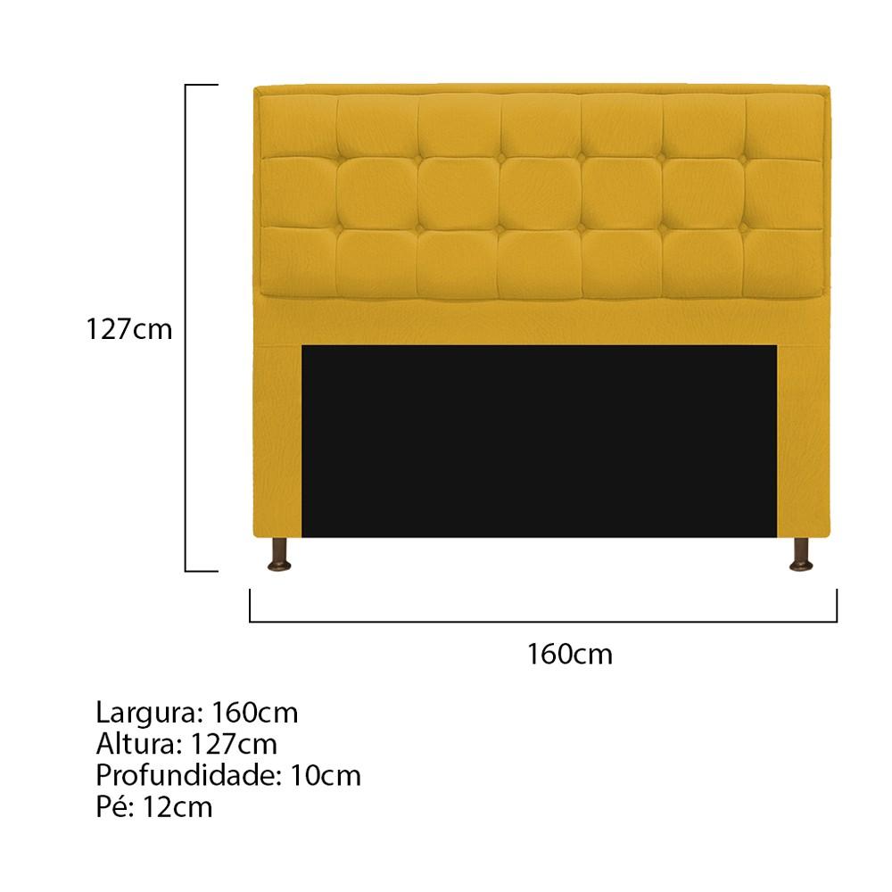 Cabeceira Copenhague 160 cm Queen Size Suede Amarelo - ADJ Decor