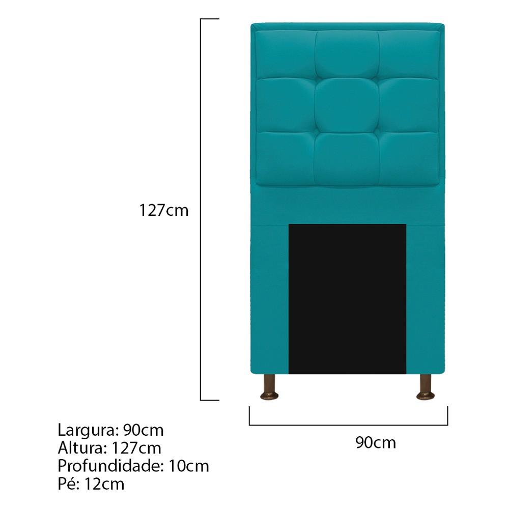 Cabeceira Copenhague 90 cm Solteiro Suede Azul Turquesa - ADJ Decor