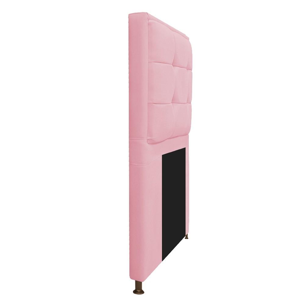 Cabeceira Copenhague 90 cm Solteiro Suede Rosa Bebê - ADJ Decor