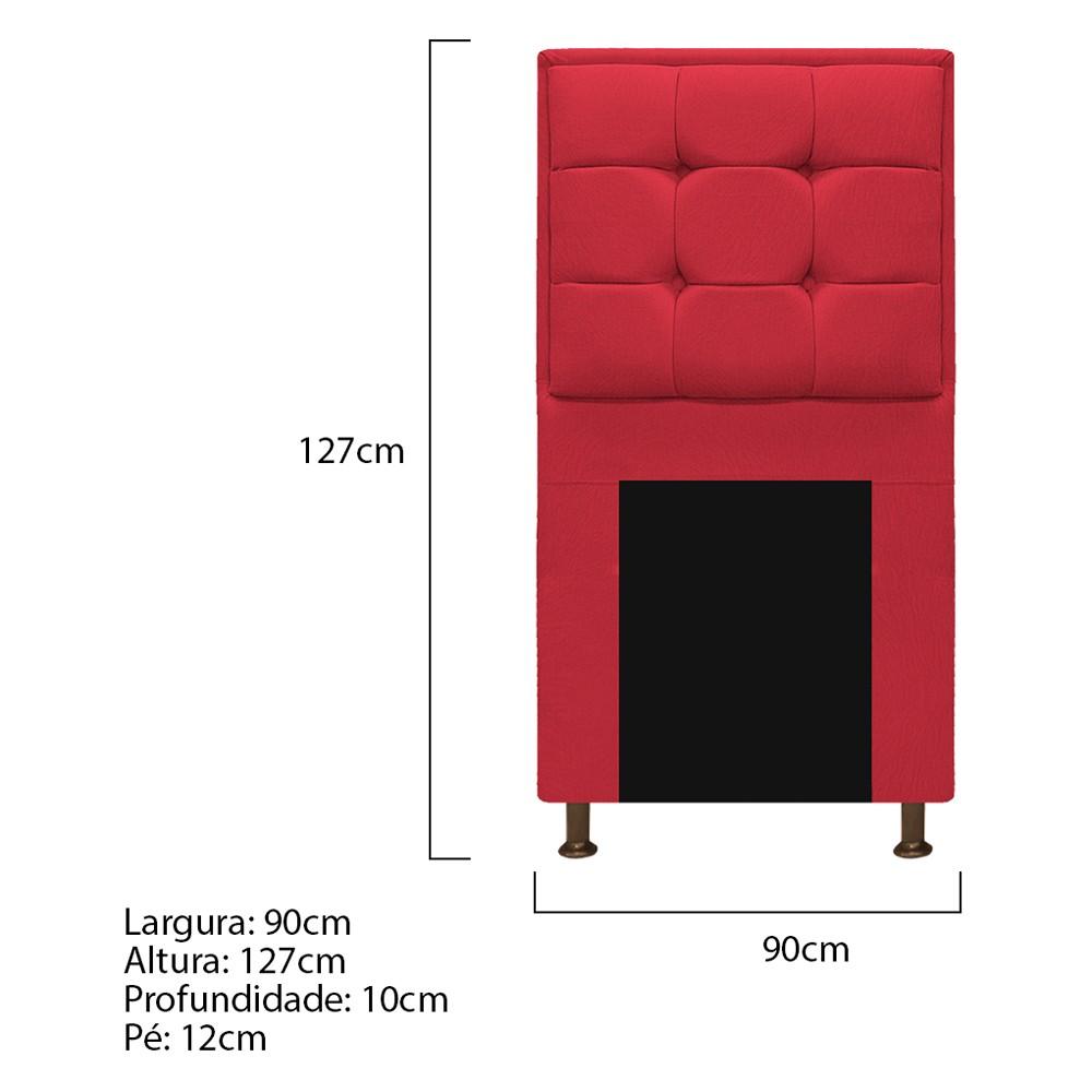 Cabeceira Copenhague 90 cm Solteiro Suede Vermelho - ADJ Decor