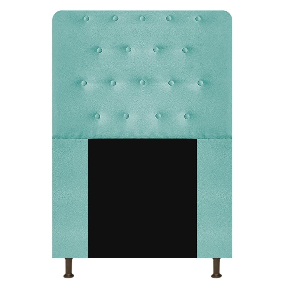 Cabeceira Estofada Brenda 100 cm Solteiro Com Botonê Suede Azul Tiffany - ADJ Decor