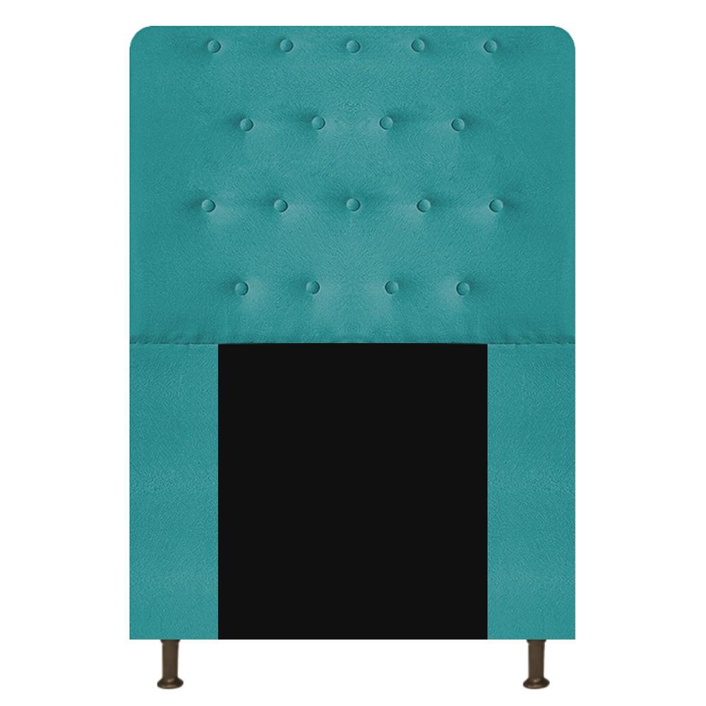 Cabeceira Estofada Brenda 100 cm Solteiro Com Botonê Suede Azul Turquesa - ADJ Decor