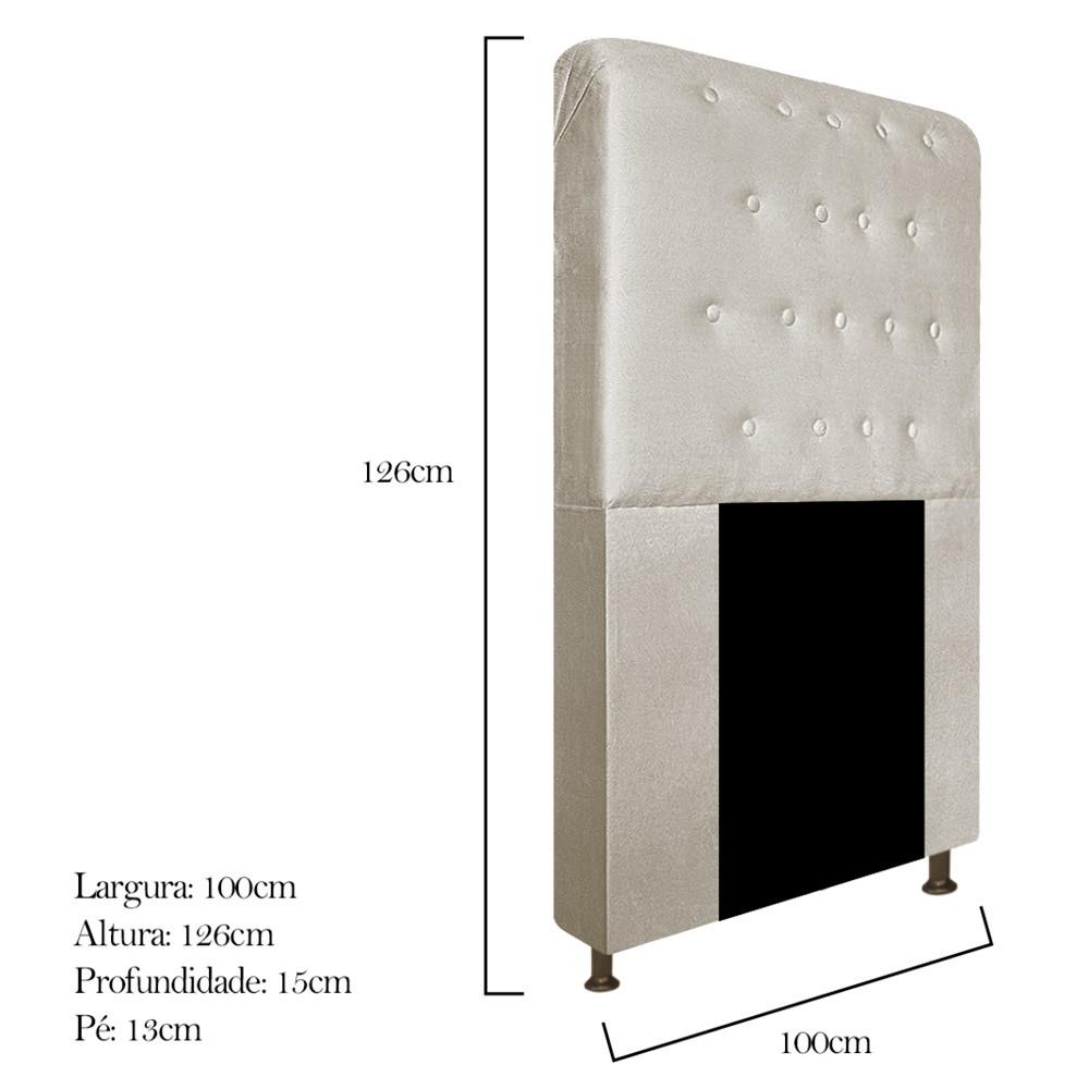 Cabeceira Estofada Brenda 100 cm Solteiro Com Botonê Suede Bege - ADJ Decor