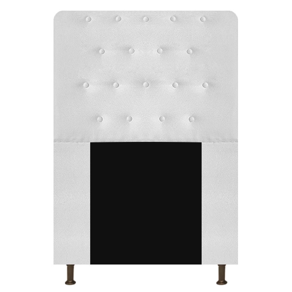 Cabeceira Estofada Brenda 100 cm Solteiro Com Botonê Suede Branco - ADJ Decor