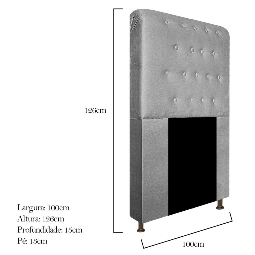 Cabeceira Estofada Brenda 100 cm Solteiro Com Botonê Suede Cinza - ADJ Decor