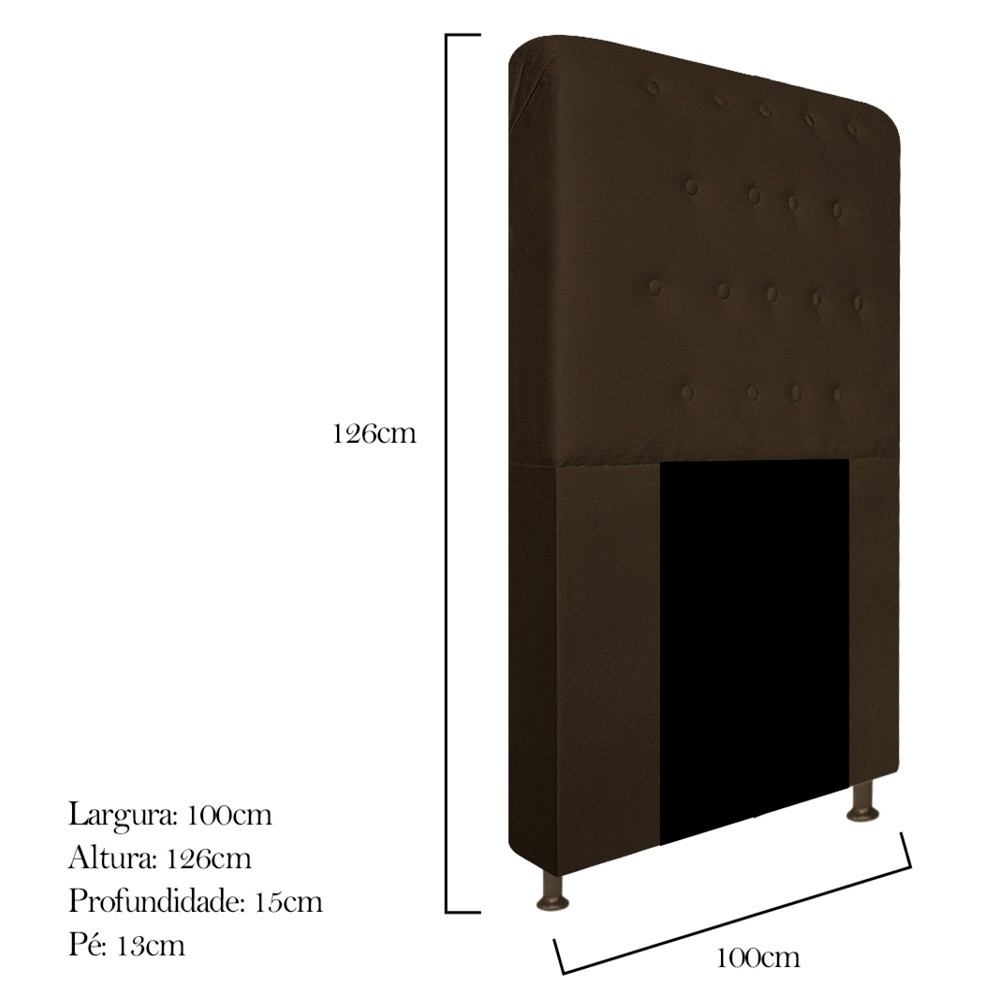 Cabeceira Estofada Brenda 100 cm Solteiro Com Botonê Suede Marrom - ADJ Decor