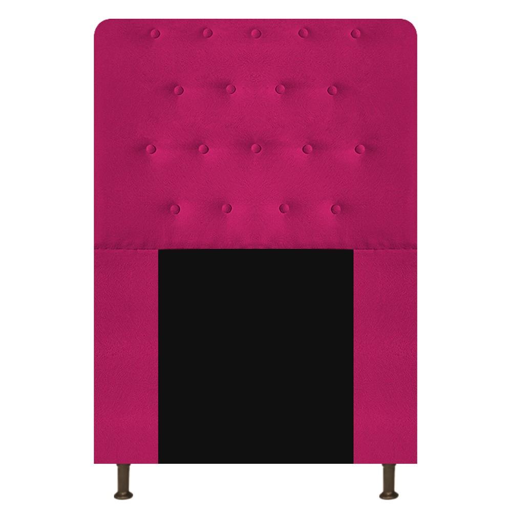 Cabeceira Estofada Brenda 100 cm Solteiro Com Botonê Suede Pink - ADJ Decor