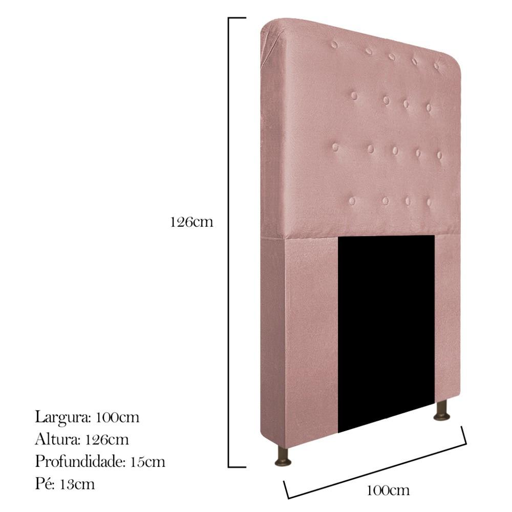 Cabeceira Estofada Brenda 100 cm Solteiro Com Botonê Suede Rosê - ADJ Decor