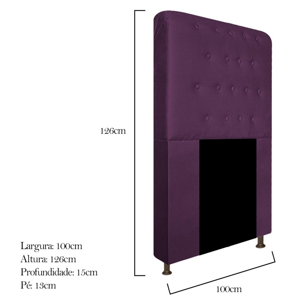 Cabeceira Estofada Brenda 100 cm Solteiro Com Botonê Suede Roxo - ADJ Decor