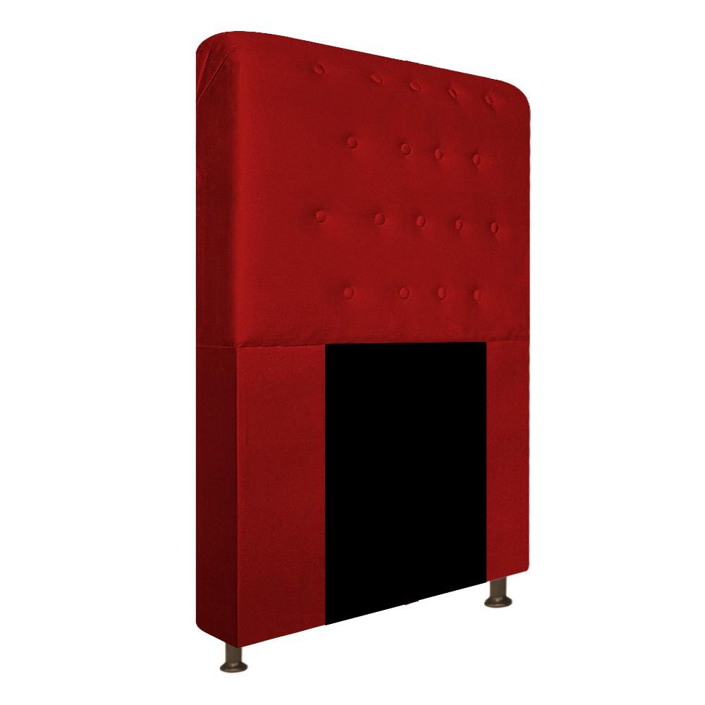 Cabeceira Estofada Brenda 100 cm Solteiro Com Botonê Suede Vermelho - ADJ Decor