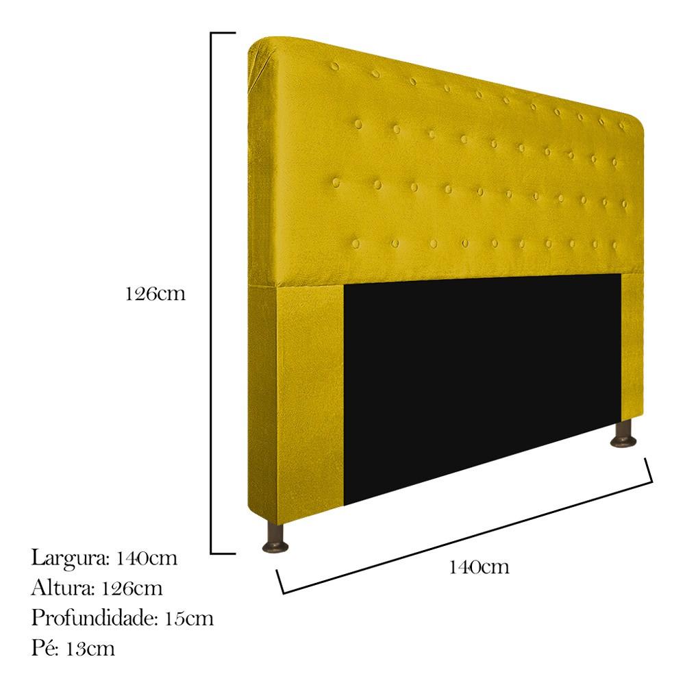 Cabeceira Estofada Brenda 140 cm Casal Com Botonê  Suede Amarelo - ADJ Decor