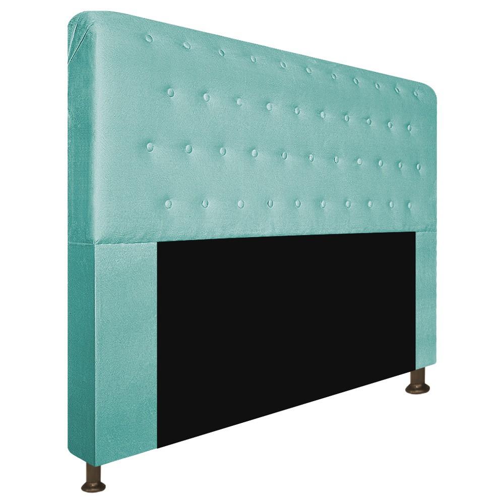 Cabeceira Estofada Brenda 140 cm Casal Com Botonê  Suede Azul Tiffany - ADJ Decor