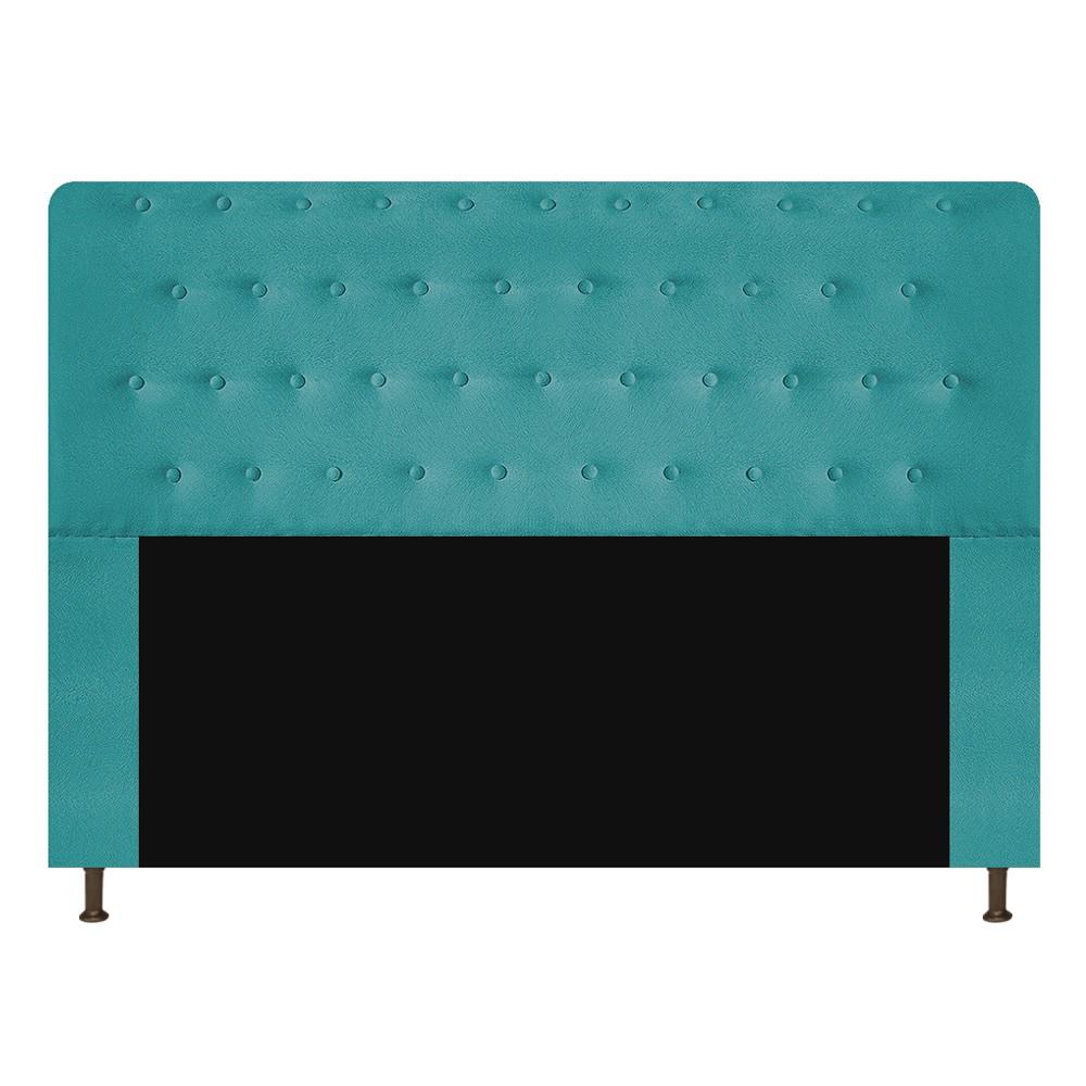 Cabeceira Estofada Brenda 140 cm Casal Com Botonê  Suede Azul Turquesa - ADJ Decor