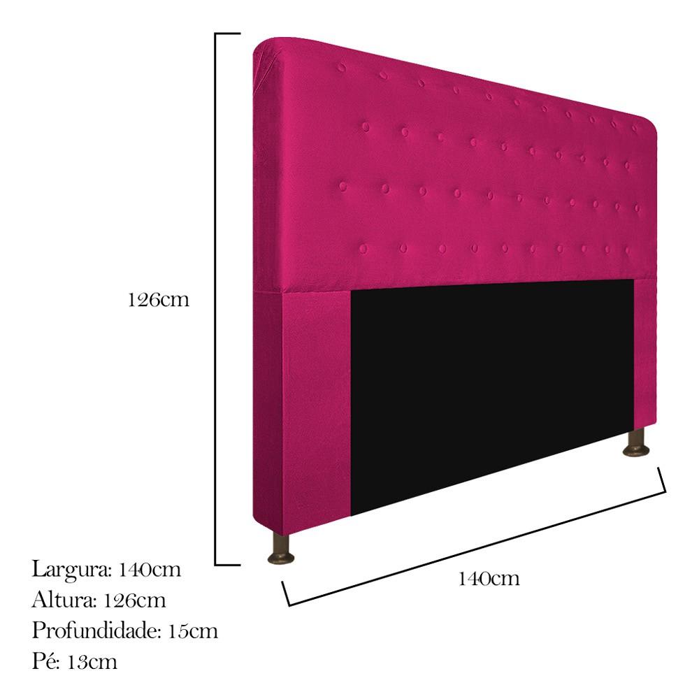 Cabeceira Estofada Brenda 140 cm Casal Com Botonê  Suede Pink - ADJ Decor