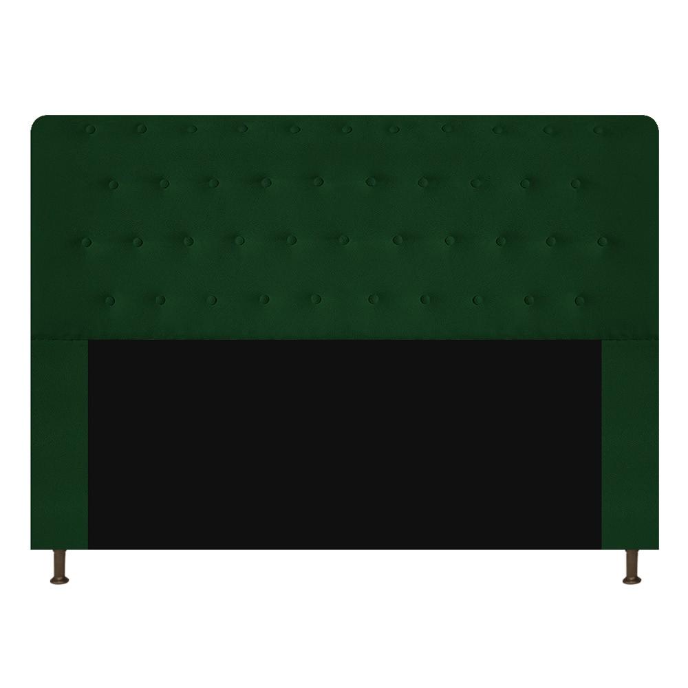 Cabeceira Estofada Brenda 140 cm Casal Com Botonê  Suede Verde - ADJ Decor