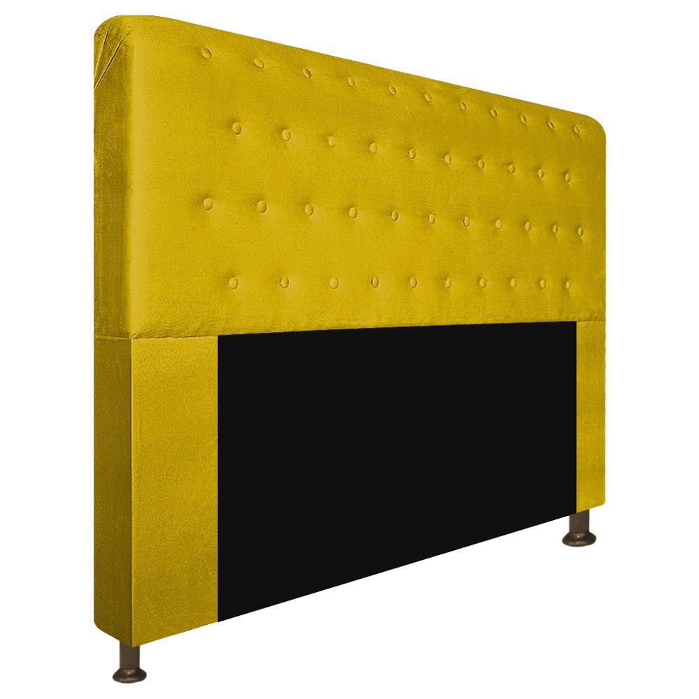 Cabeceira Estofada Brenda 160 cm Queen Size Com Botonê Suede Amarelo - ADJ Decor