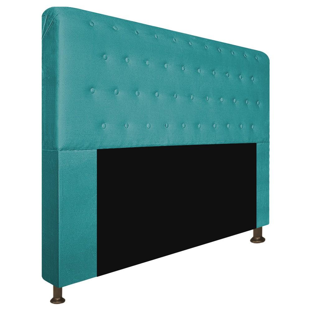 Cabeceira Estofada Brenda 160 cm Queen Size Com Botonê Suede Azul Turquesa - ADJ Decor