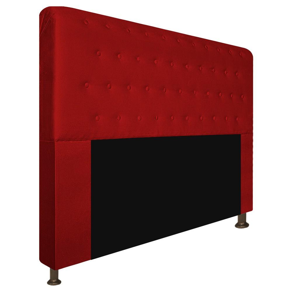 Cabeceira Estofada Brenda 160 cm Queen Size Com Botonê Suede Vermelho - ADJ Decor