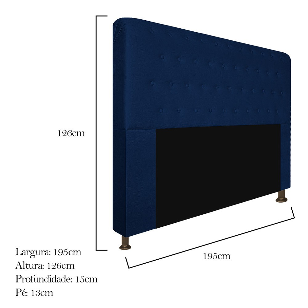 Cabeceira Estofada Brenda 195 cm King Size Com Botonê Suede Azul Marinho - ADJ Decor