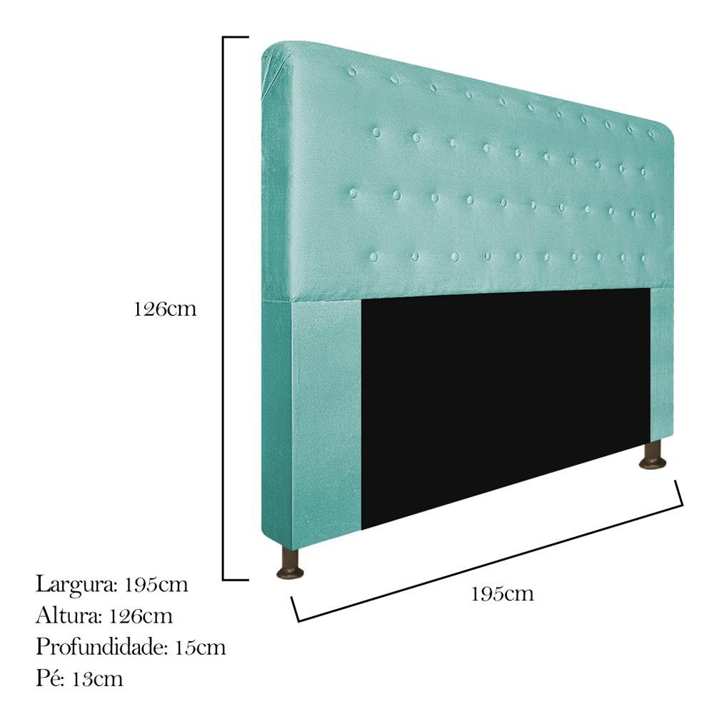 Cabeceira Estofada Brenda 195 cm King Size Com Botonê Suede Azul Tiffany - ADJ Decor