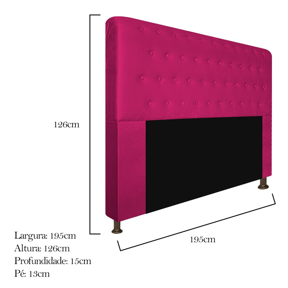Cabeceira Estofada Brenda 195 cm King Size Com Botonê Suede Pink - ADJ Decor