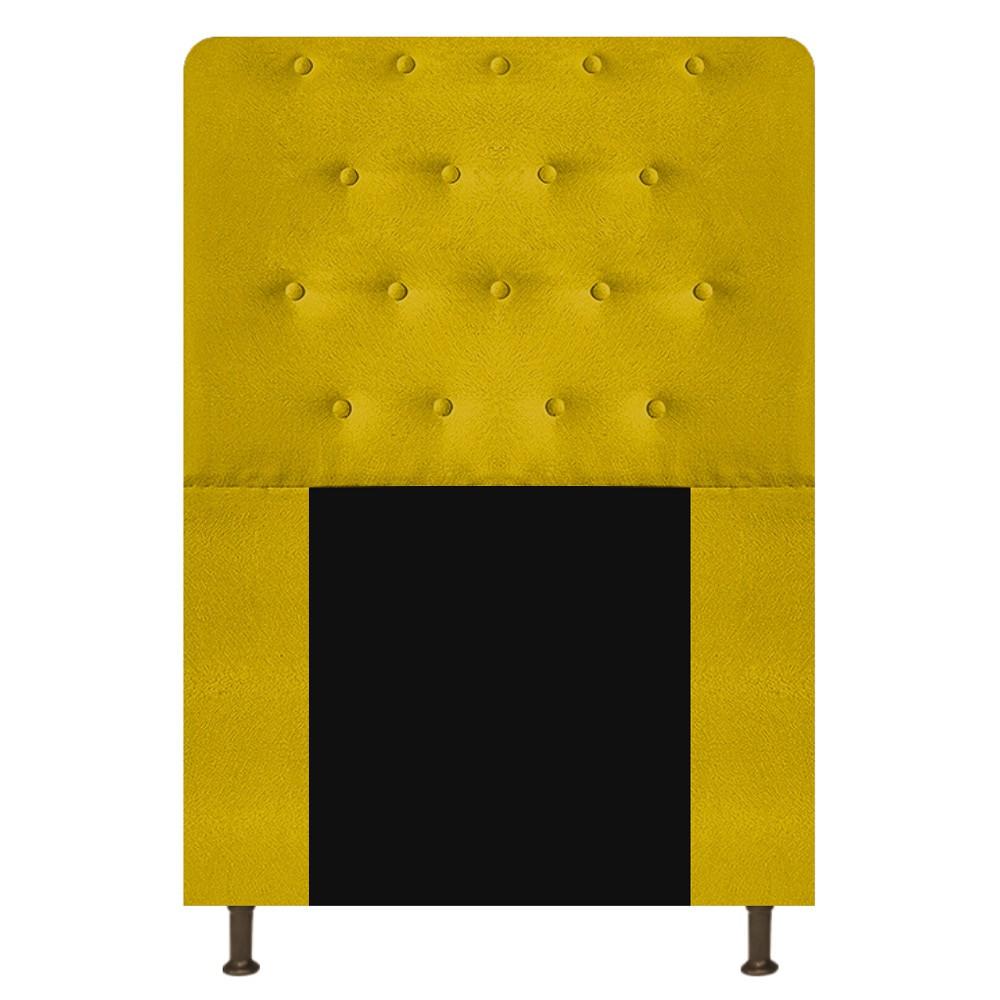 Cabeceira Estofada Brenda 90 cm Solteiro Com Botonê  Suede Amarelo - ADJ Decor