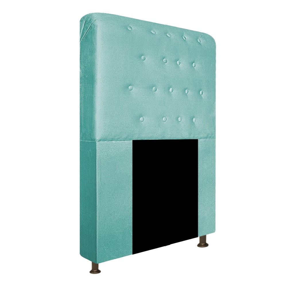 Cabeceira Estofada Brenda 90 cm Solteiro Com Botonê  Suede Azul Tiffany - ADJ Decor