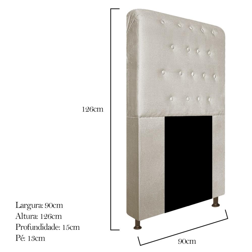 Cabeceira Estofada Brenda 90 cm Solteiro Com Botonê  Suede Bege - ADJ Decor