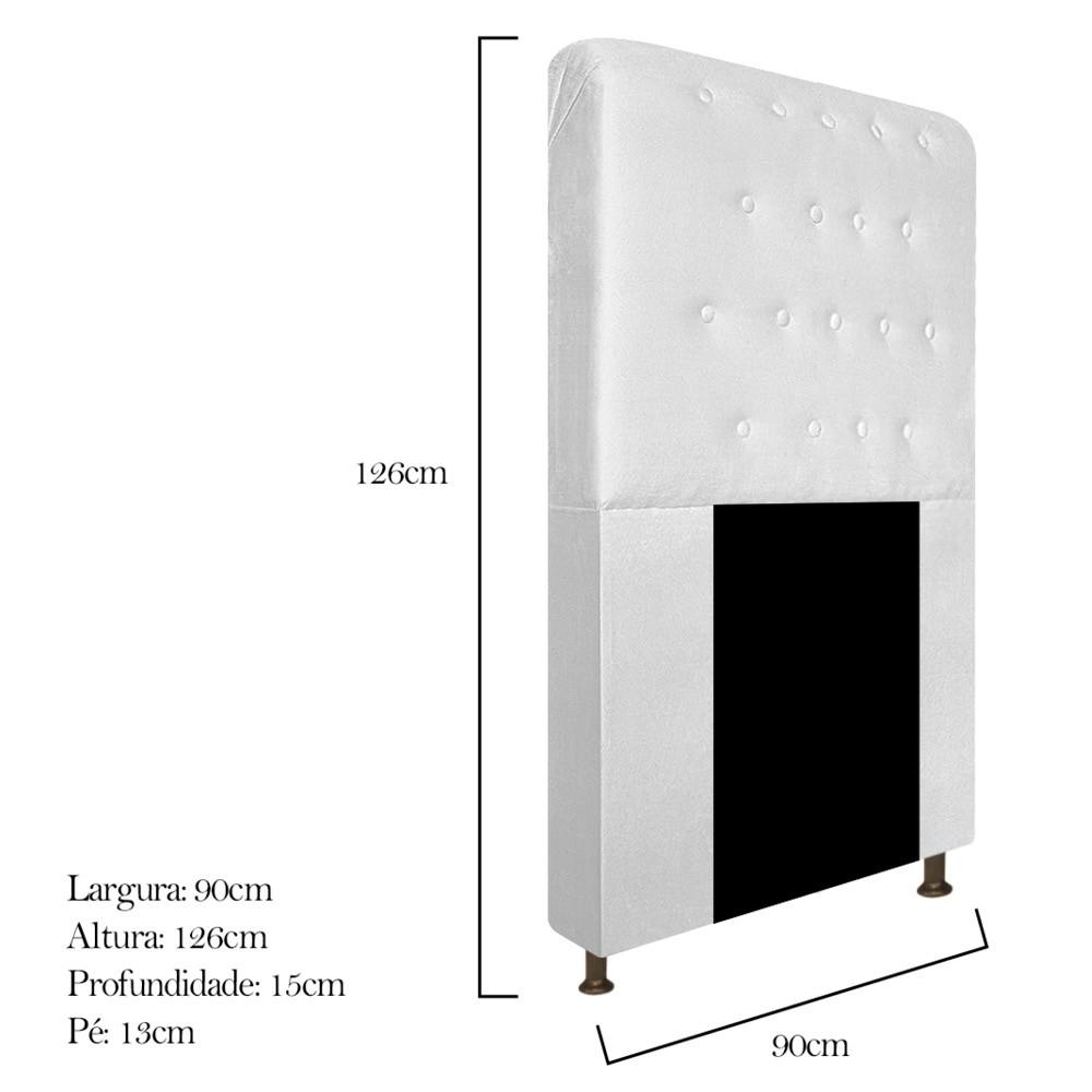 Cabeceira Estofada Brenda 90 cm Solteiro Com Botonê  Suede Branco - ADJ Decor