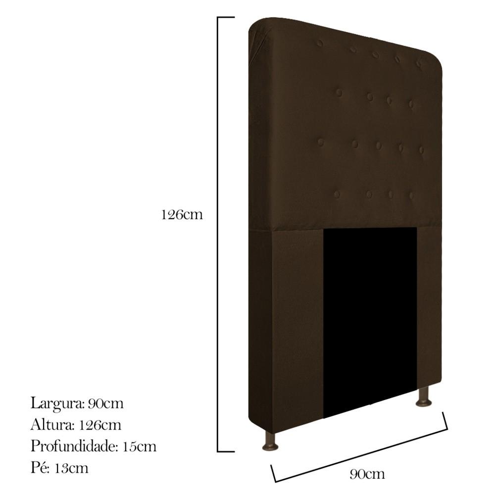Cabeceira Estofada Brenda 90 cm Solteiro Com Botonê  Suede Marrom - ADJ Decor