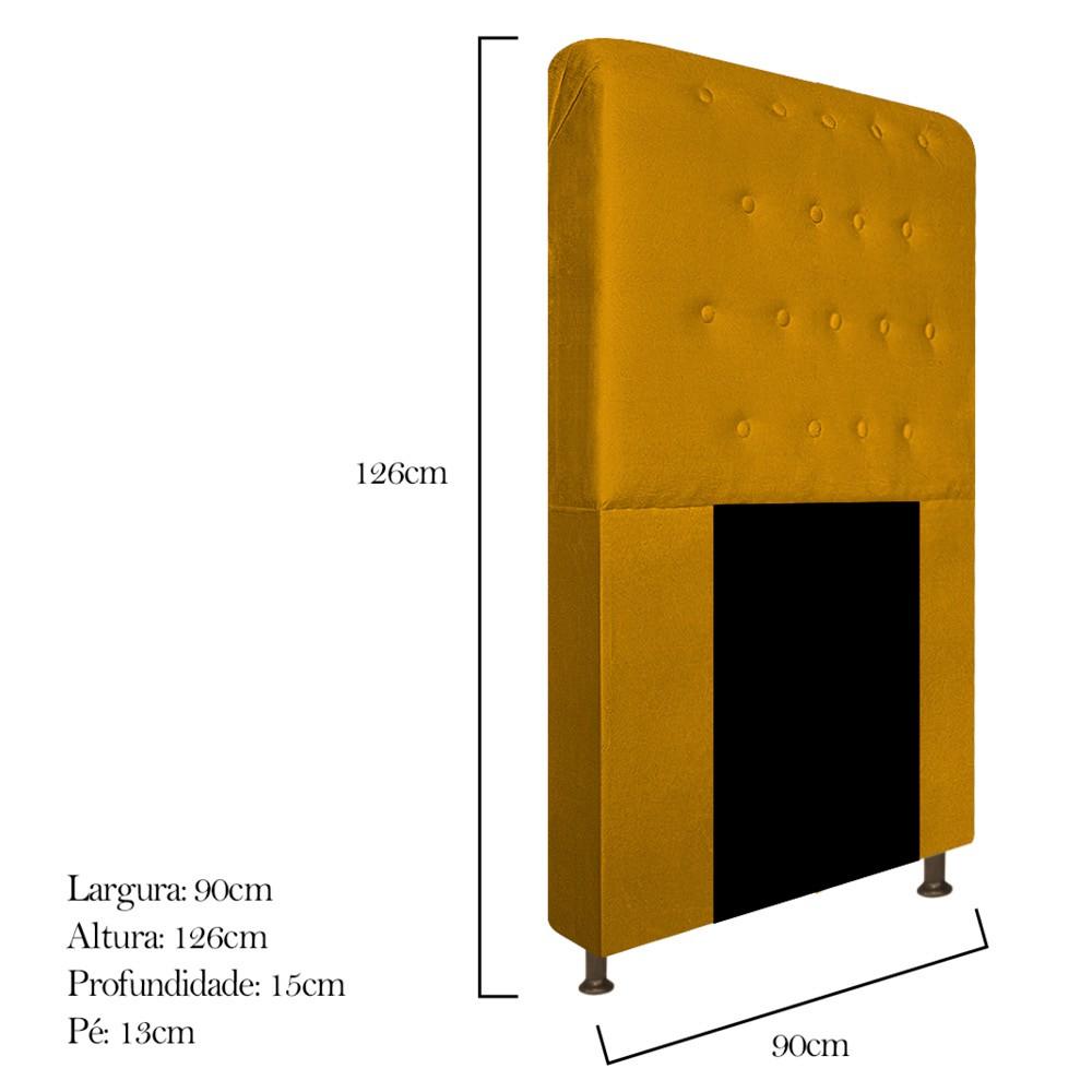 Cabeceira Estofada Brenda 90 cm Solteiro Com Botonê  Suede Mostarda - ADJ Decor
