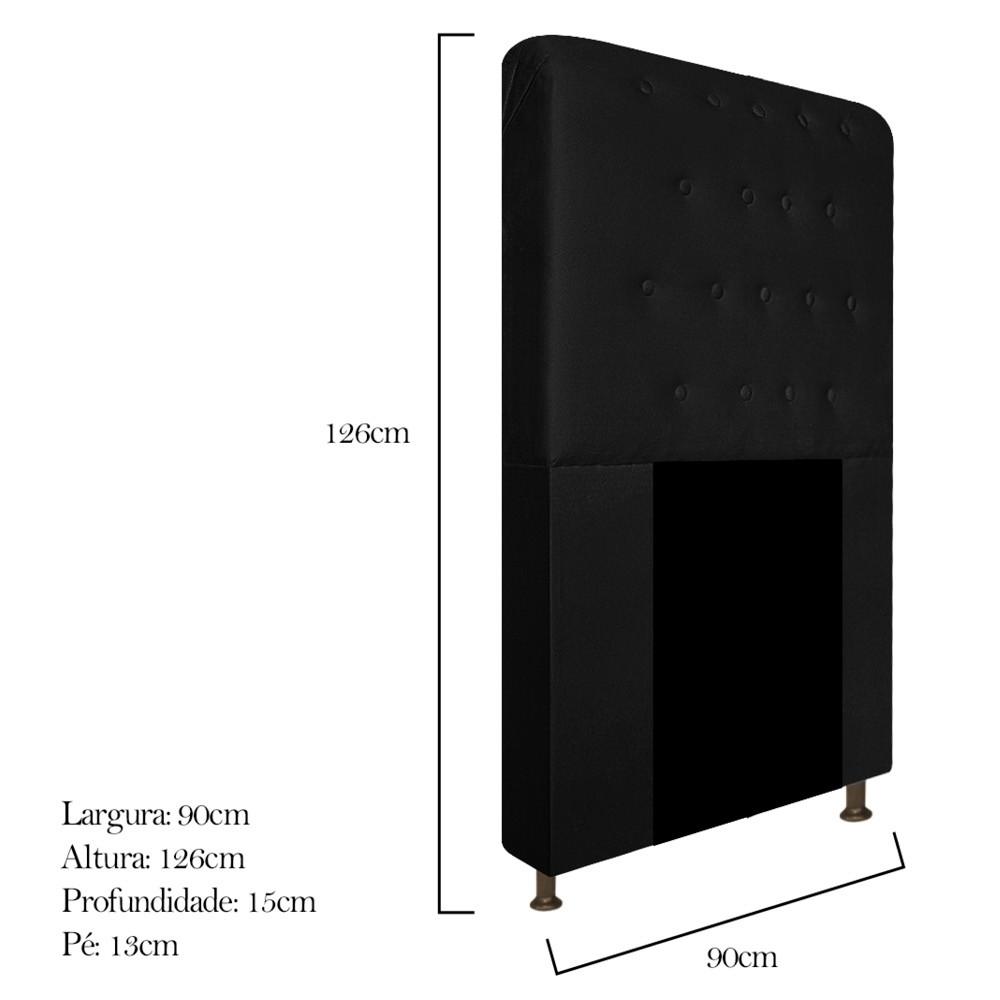 Cabeceira Estofada Brenda 90 cm Solteiro Com Botonê  Suede Preto - ADJ Decor