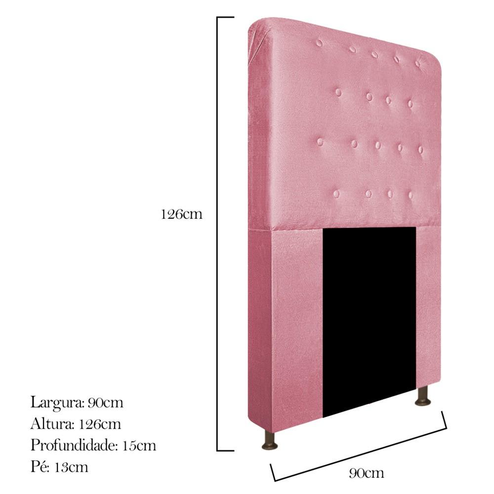 Cabeceira Estofada Brenda 90 cm Solteiro Com Botonê  Suede Rosa Bebê - ADJ Decor